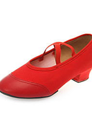 cheap -Women's Jazz Shoes Leatherette / Canvas Heel Practice Low Heel Customizable Dance Shoes Red