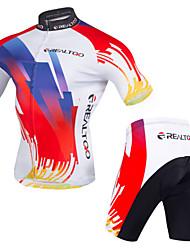 billiga Sport och friluftsliv-Realtoo Cykeltröja med shorts Herr Kortärmad Cykel Cykelkläder Anatomisk design Dragkedja fram Andningsfunktion Lättviktsmaterial 3D
