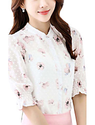 Women's  Summer Slim Blouse Print Stand Short Sleeve Pink Rayon  Thin