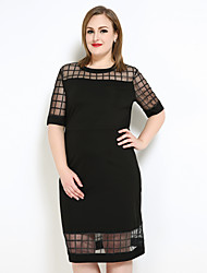 cheap -Really Love Women's Party Daily Plus Size Cute Casual Sexy Shift T Shirt Dress,Check Round Neck Midi Polyester Spring Summer Mid Rise Micro-elastic