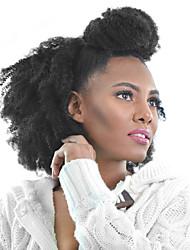 Недорогие -PANSY На клипсе Расширения человеческих волос Kinky Curly Натуральные волосы Бразильские волосы Черный