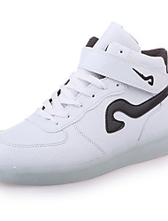 cheap -Women's Sneakers Light Up Shoes PU Spring Casual Light Up Shoes Lace-up LED Low Heel Gold White Black/White Red/White Black/Red1in-1