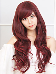 cheap -New Arrival Red Color Long Wave Women Wig Heat Resisting Syntheitc Wig