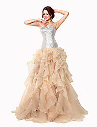 cheap -Ball Gown Sweetheart Sweep / Brush Train Organza Formal Evening Dress with Sequins by Sarahbridal