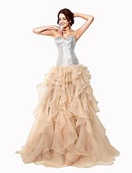 economico -Da ballo A cuore Strascico a terra Organza Serata formale Vestito con Con strass di Sarahbridal