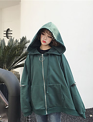 Women's Casual/Daily Hoodie Solid Round Neck High Elasticity Cotton Long Sleeve