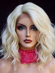 Women Synthetic Lace Front Wigs New Fashion Blonde Wig Bob Hairstyle Short Loose Wave Side Part Hair Heat Resistant