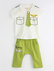 billige -Drenge Daglig Geometrisk Tøjsæt, Bomuld Sommer Kortærmet Grøn