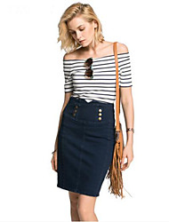 cheap -Women's Going out Casual Summer T-shirt,Striped Boat Neck Cotton Acrylic Opaque