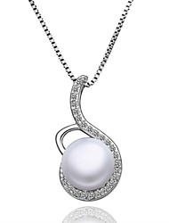 Women's Pendant Necklaces Chain Necklaces Imitation Pearl AAA Cubic Zirconia Geometric Imitation Pearl Zircon Copper Silver Plated Alloy