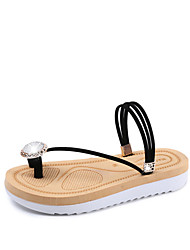 Women's Sandals Toe Ring PU Spring Summer Casual Dress Toe Ring Rhinestone Flat Heel White Black Blushing Pink Under 1in