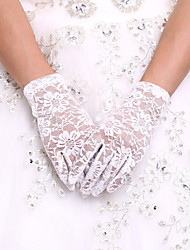 White Wrist Length Fingertips Glove Lace Bridal Gloves Ladies' Party Gloves With DIY Pearls and Rhinestones