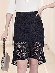 Women's High Rise Going out Work Beach Above Knee Skirts Bodycon Lace Solid Summer Fall