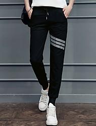 economico -Da donna A vita medio-alta Attivo Media elasticità Harém Largo Chino Pantaloni della tuta Pantaloni,Tinta unita A strisce Cotone