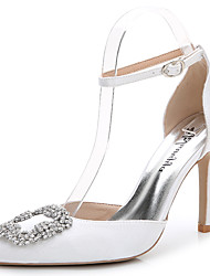 cheap -Women's Shoes Silk Summer / Fall D'Orsay & Two-Piece Sandals Stiletto Heel Pointed Toe Rhinestone / Crystal / Sparkling Glitter White /