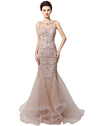 cheap -Mermaid / Trumpet Bateau Neck Floor Length Tulle Formal Evening Dress with Beading