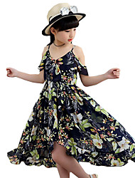 cheap -Girl's Floral Dress,Polyester Summer Sleeveless Floral Navy Blue