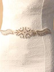 Wedding Accessories Appliqued Artificial Pearls Diamonds Handmade Manual Cutting Soft Satin Wedding Belts