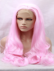 cheap -Synthetic Hair Wigs Body Wave Side Part Natural Hairline Carnival Wig Halloween Wig Natural Wigs Medium Long Pink
