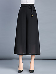 Women's High Rise Micro-elastic Chinos Pants,Simple Wide Leg Chiffon Pleated Layered Solid