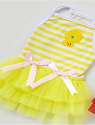 Cachorro Vestidos Roupas para Cães Casual Riscas Amarelo Vermelho Rosa claro Ocasiões Especiais Para animais de estimação