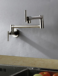 Contemporary Art Deco/Retro Modern Standard Spout Tall/­High Arc Pot Filler Wall Mounted Rain Shower Rotatable Thermostatic Brass Valve