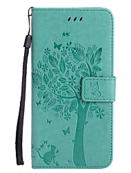 cheap -For Apple iPhone 7 Plus 7 PU Leather Cat and Tree Pattern Phone Case 6s Plus 6 Plus 6s 6 SE 5s 5 5c 4s 4