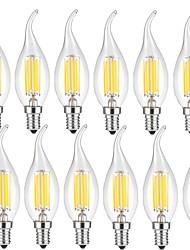 cheap -12pcs 5W 600 lm E14 LED Filament Bulbs CA35 6 leds COB Decorative Warm White Cold White AC 220-240V