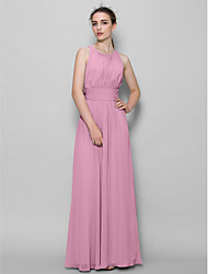 cheap -A-Line Scoop Neck Ankle Length Georgette Bridesmaid Dress with Draping Ruched by LAN TING BRIDE®