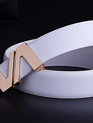 Men's fashion leisure cross grain white leather gold silver alloy plate buckle belt leisure party work