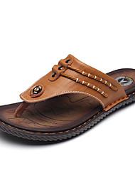 cheap -Men's Slippers & Flip-Flops Comfort Cowhide Summer Fall Casual Outdoor Comfort Black Yellow Navy Blue 1in-1 3/4in