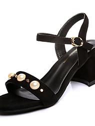 cheap -Women's Sandals Comfort Cashmere Summer Casual Walking Comfort Beading Low Heel Black Yellow Khaki 3in-3 3/4in