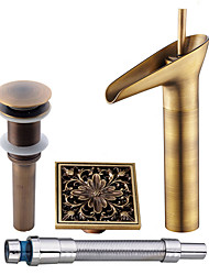 cheap -Antique Centerset Pre Rinse Waterfall Widespread Ceramic Valve Single Handle One Hole Antique Copper , Bathroom Sink Faucet