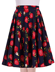 cheap -Women's Blue Strawberry Floral Going out Daily Knee-length Skirts Vintage Swing Dress All Seasons Mid Rise
