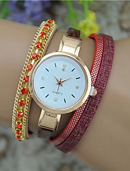 cheap -Women's Fashion Watch Bracelet Watch Quartz Leather Band Bangle Black White Blue Red Pink