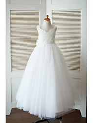 cheap -A-Line Floor Length Flower Girl Dress - Tulle Sleeveless V Neck with Bow(s) Flower by LAN TING BRIDE®