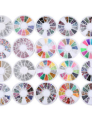 cheap -20 pack mixed lot 3d nail art decorations rhinestone 13 wheel sets colored rhinestones sliver crystal gemstones 3d glitter rhinestones charm gold