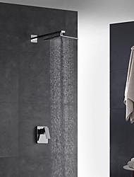 abordables -Moderne Décoration artistique/Rétro Montage mural Douche pluie Douchette inclue Thermostatique Soupape en laiton 2 trous Mitigeur deux