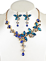 Women's Drop Earrings Necklace Crystal Floral Unique Design Dangling Style Fashion Euramerican Africa Party Anniversary Congratulations
