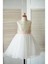 vestido de menina de flor de joelho com uma linha de joias - gola de lã com lantejoulas de tule com applique de thstylee