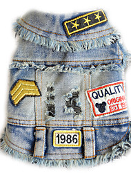 cheap -Dog Denim Jacket/Jeans Jacket Dog Clothes Cowboy Casual/Daily Letter & Number Black Blue Costume For Pets