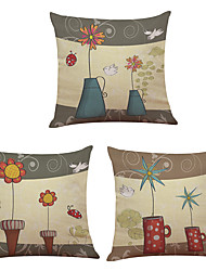 cheap -Set of 3  Happy Little Flowers Pattern  Linen Pillowcase Sofa Home Decor Cushion Cover