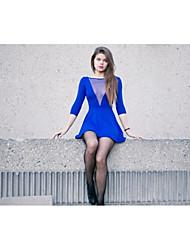 abordables -Mujer Vaina Vestido Un Color Mini Escote en V Profunda Azul