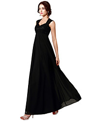 A-Line Halter Floor Length Chiffon Lace Formal Evening Dress with Embroidery by Sarahbridal