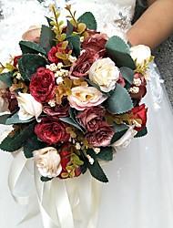 cheap -Wedding Flowers Round Roses Bouquets Wedding / Party/ Evening Satin / Silk / Bead / Rhinestone