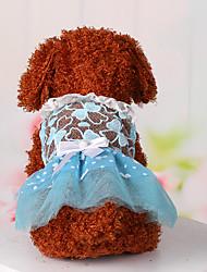 baratos -Cachorro Vestidos Roupas para Cães Rendas Azul Rosa claro Algodão Ocasiões Especiais Para animais de estimação Mulheres Fofo Casual