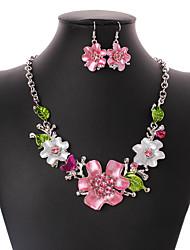 Juego de Joyas Euramerican Forma de Flor Rosa 1 Collar 1 Par de Pendientes Para Boda Fiesta Ocasión especial Cumpleaños Pedida Casual1