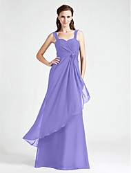 cheap -A-Line / Princess Straps Floor Length Chiffon Bridesmaid Dress with Criss Cross / Ruched / Flower by LAN TING BRIDE®