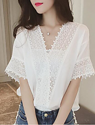 cheap -Women's Polyester Blouse - Solid, Lace V Neck