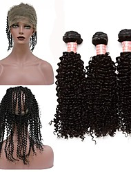 cheap -Peruvian Hair Curly Weave Kinky Curly Human Hair Weaves 4 Pieces One Pack Solution